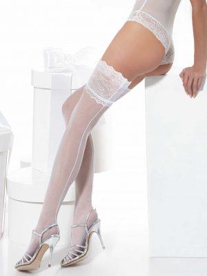20 denier bruidskousen wit met naad Conte Deluxe