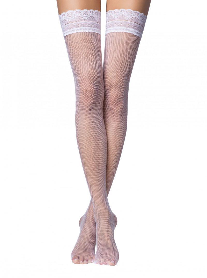 fishnet kousen wit met kantenband Conte bellissima