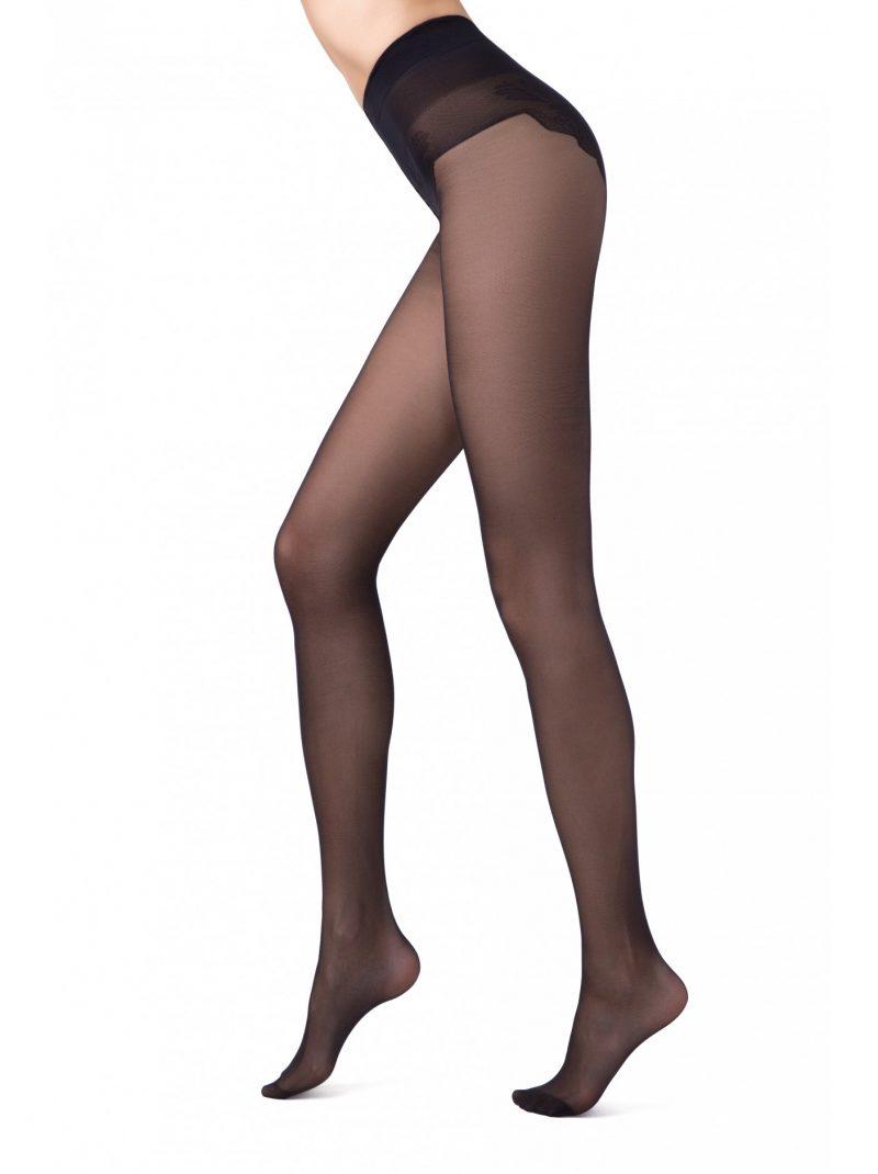 20 denier zwarte panty met kanten broek
