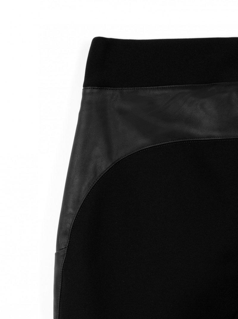 Stevige ribtricot tregging met leatherlook details
