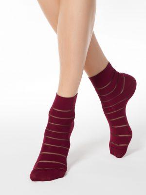 Dunne sokken dames met strepen Conte Fantasy bordeaux