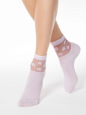 sokken dames met bloemen rose Conte