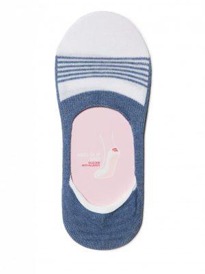 Dames voetjes van katoen met anti-slip randen in de hiel