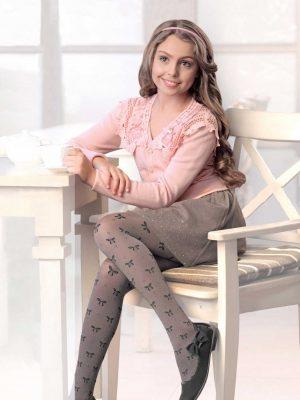 Conte Samira kinderpanty met strikjes en lurex stippen