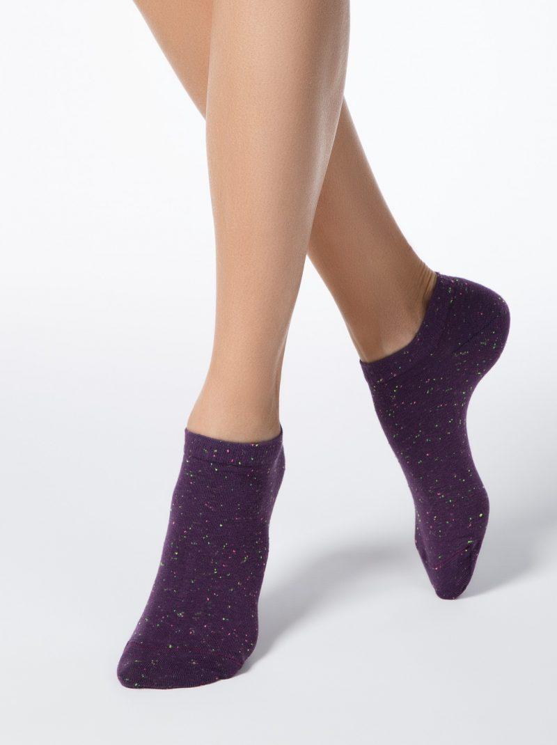 Korte sneakersokken voor dames Conte Active pixels aubergine