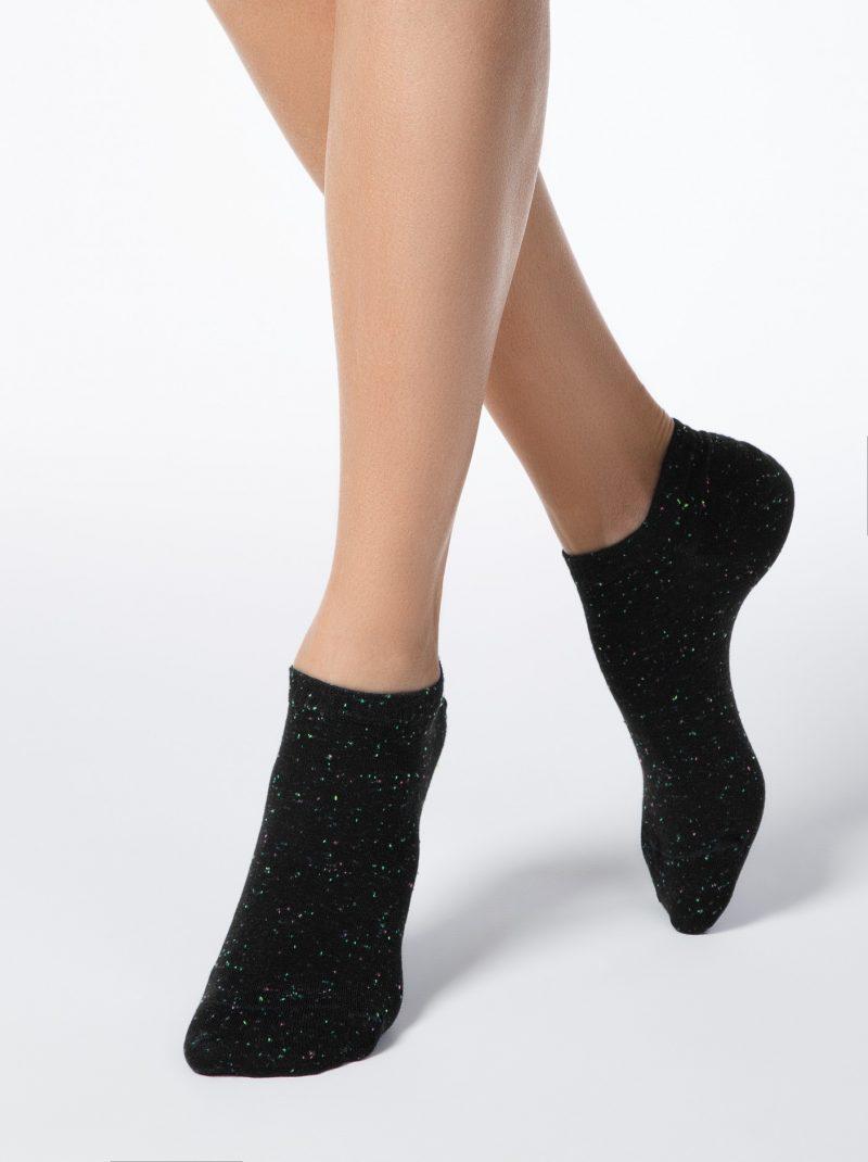 zwarte sneakersokken dames met pixels
