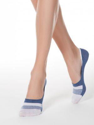 katoenen dames voetjes denim kleur