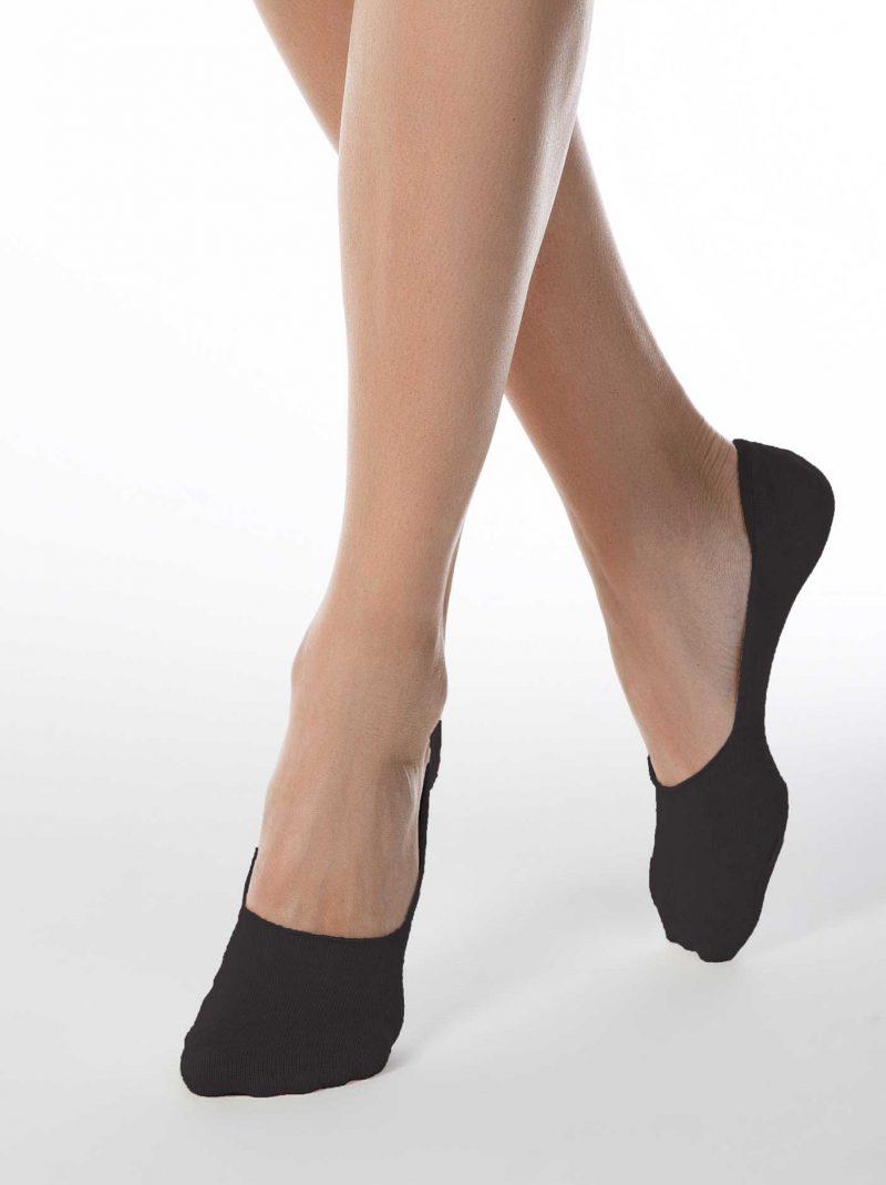 zwarte voetjes voor dames van katoen Conte Classic