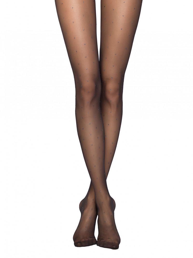 20 denier zwarte panty met glitter stippen