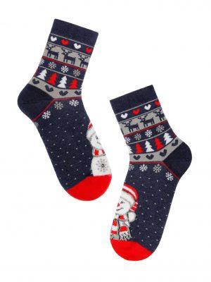 Badstof kerstsokken voor dames met lachende sneeuwman, rendieren, kerstbomen en sneeuwvlokken