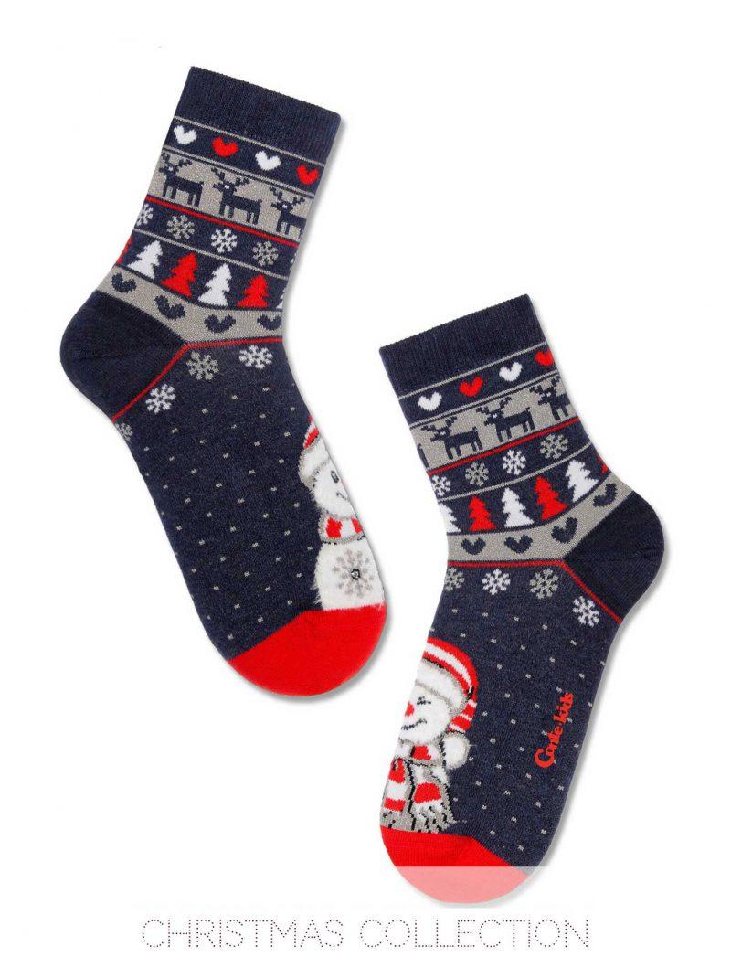 badstof kerstsokken voor kinderen met een lachende kerstman en leuke winterse accenten