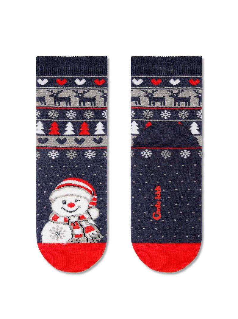 badstof kerstsokken voor kinderen met een lachende kerstman en glitter stippen, rendier en kerstbomen