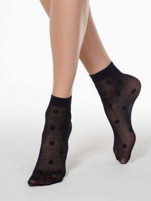 Zwarte damessokken met stippen Conte fantasy Dots