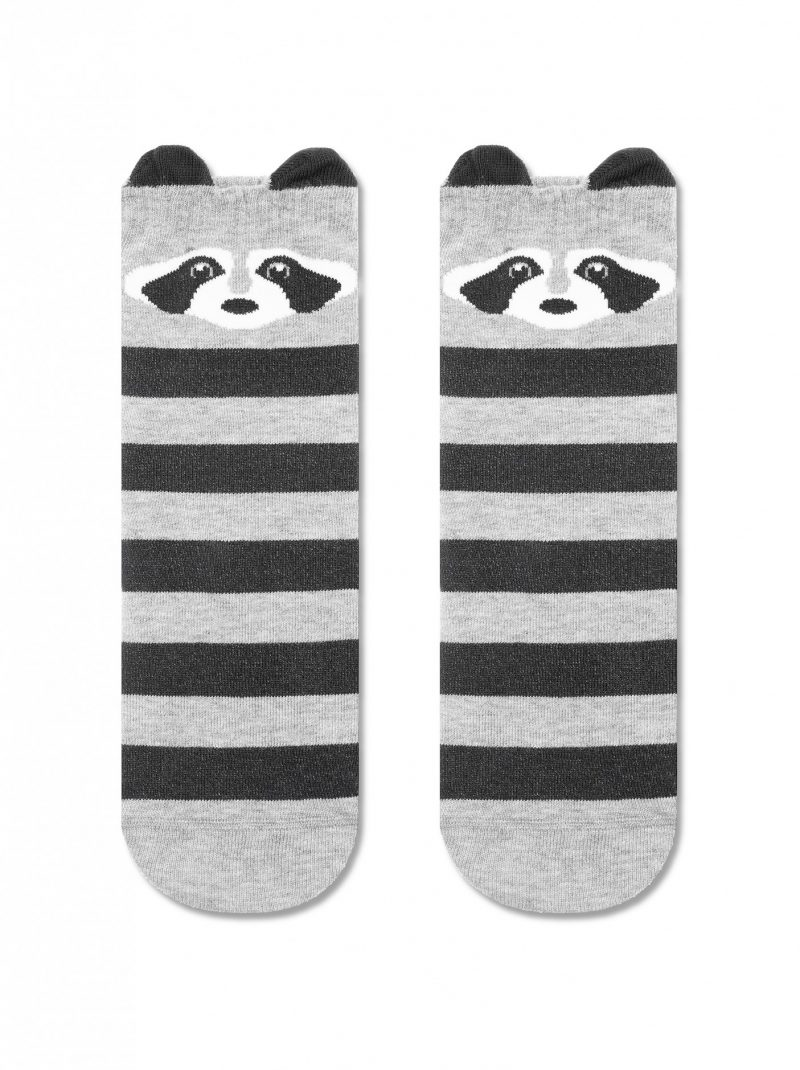 Damessokken met panda print en gestreept patroon grijs Conte Classic 317