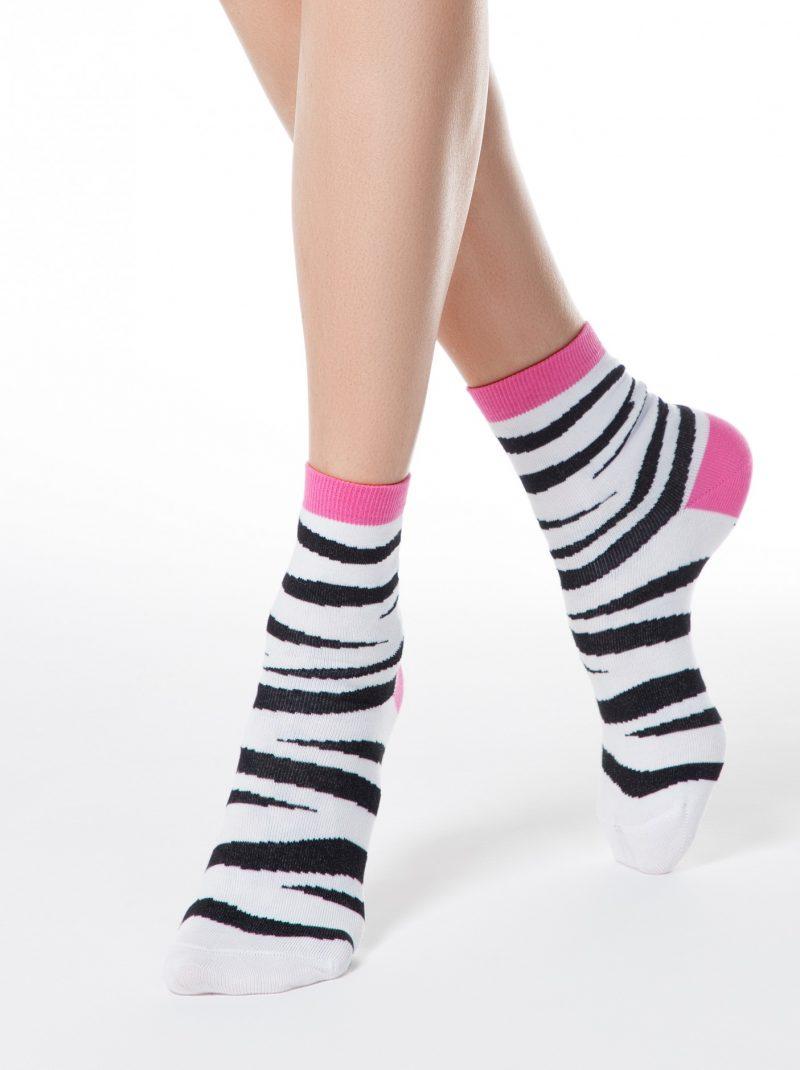 Katoenen damessokken met zebra print Conte Classic 149