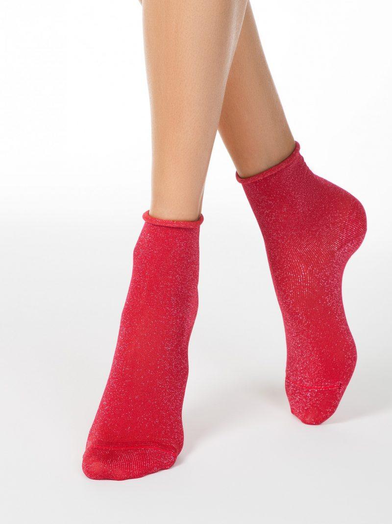 glittersokken dames rood
